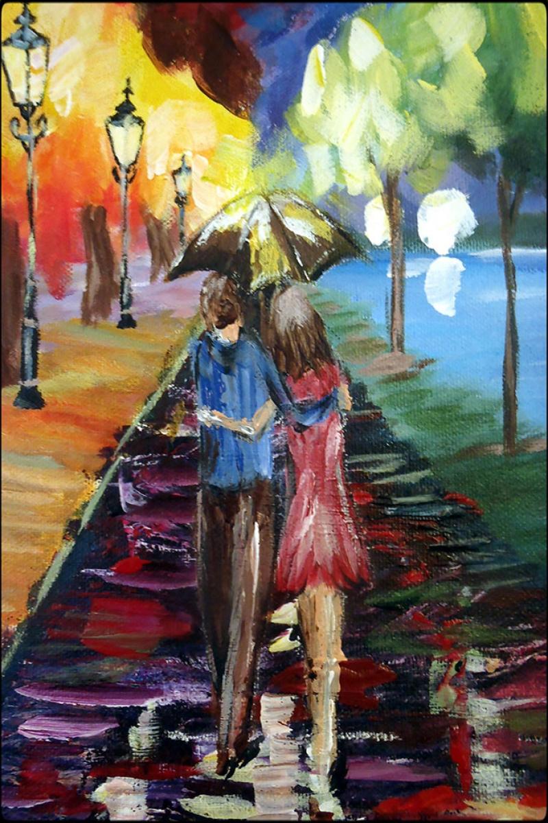 Aşk, Akşam Işıkları Şehir Manzaraları Afremov 2 Dekoratif Sanat Kanvas Tablo