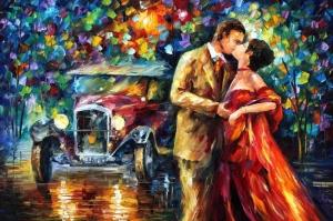 Aşk Aksam Işıkları Şehir Manzaraları Afremov 4 Sanat Kanvas Tablo