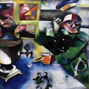 Asker İçkileri Marc Chagall The Soldier Drinks Klasik Sanat Kanvas Tablo