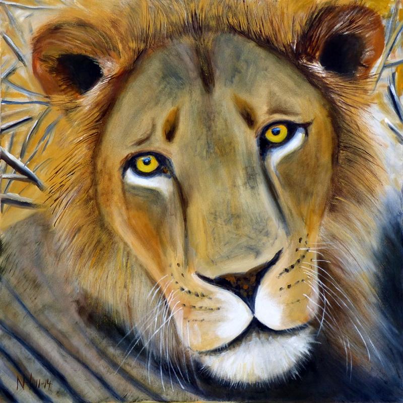 Aslan Yagli Boya Sanat Dekoratif Kanvas Tablo Arttablo