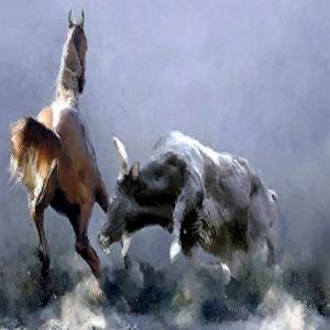 At ve Boğa Karşılaşma, İç Mekan dekoratif Kanvas Tablo