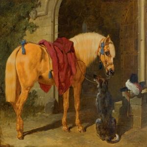 At ve Köpeğin Dostluğu, Hayvanlar, İç Mekan dekoratif Kanvas Tablo