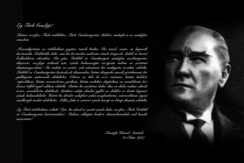 Atatürk\'ün Gençliğe Hitabesi Atatürk Unique Kanvas Tablo