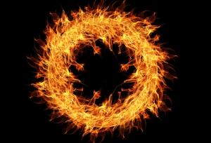 Ateşten Yuvarlak Dijital ve Fantastik Kanvas Tablo