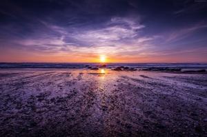 Atlantik Okyanusu İngiletere Gün Batımı Doğa Manzaraları Kanvas Tablo