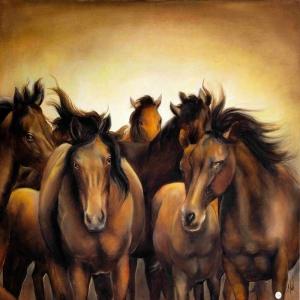 Atlar 1 Yağlı Boya Sanat Kanvas Tablo