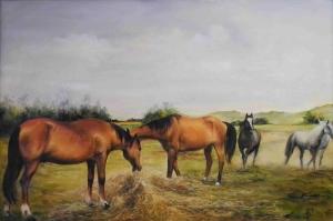 Atlar 7 Yağlı Boya Sanat Kanvas Tablo