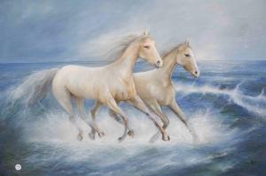 Atlar 8 Sahildeki Beyaz Yağlı Boya Sanat Kanvas Tablo