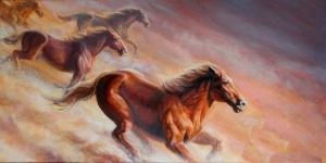 Atlar 9 Yağlı Boya Sanat Kanvas Tablo