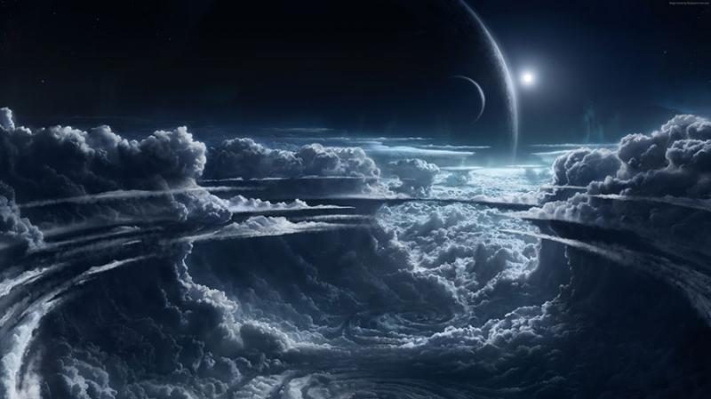 Atmosferde Bulutlar Dünya & Uzay Kanvas Tablo