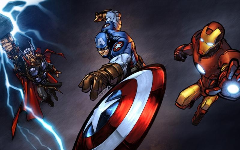 Avengers - Yenilmezler Captain Amerika Thor Iron Man Süper Kahramanlar Kanvas Tablo