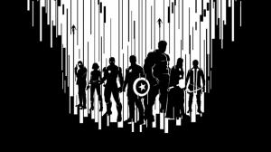 Avengers - Yenilmezler Siyah Beyaz Süper Kahramanlar Kanvas Tablo