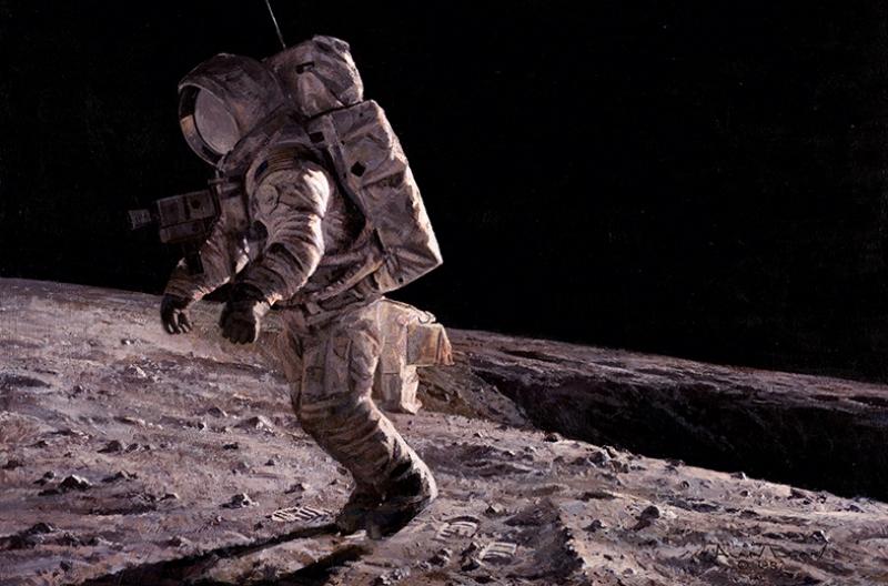 Ay'a Ayak Basan Astronot Kanvas Tablo