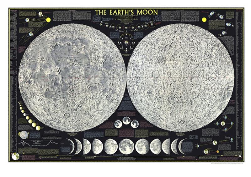 Ay Haritası Kanvas Tablo