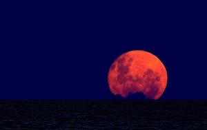 Ay Manzarası Alacakaranlık Lacivert Kanvas Tablo