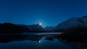Ay Mavi Gökyüzü Gece Manzarası Kanvas Tablo