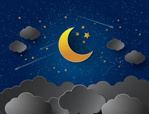 Ay Yıldız Gece Bulut Çizim İllustrasyon Bebek & Çocuk Dünyası Kanvas Tablo