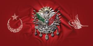 Ay Yıldız Osmanlı Devlet Arması ve Tuğra Kırmızı Osmanlı ve İslami Exclusive Kanvas Tablo