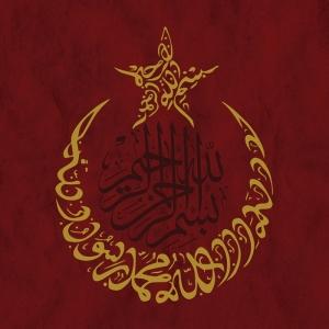 Ay Yıldız ve Hat Osmanlı ve İslami Exclusive Kanvas Tablo