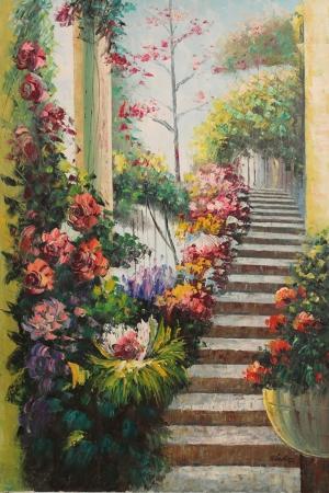 Bahçe 2, Güller Bahçesi Yağlı Boya Dekoratif Modern Sanat Kanvas Tablo