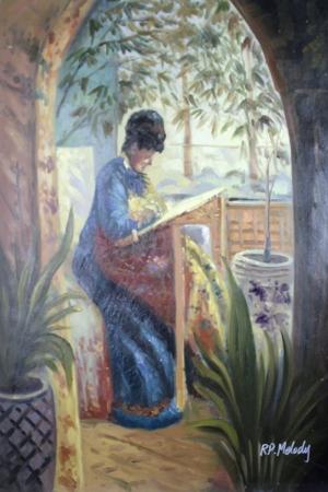 Bahçe 4, Nakış İşleyen Kadın Yağlı Boya Dekoratif Modern Sanat Kanvas Tablo