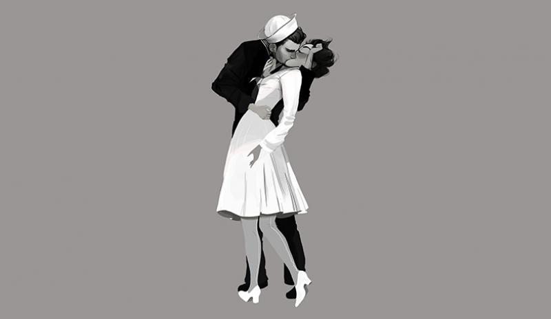 Bahriyeli ve Hemşire Öpüşme Siyah Beyaz Aşk & Sevgi Kanvas Tablo