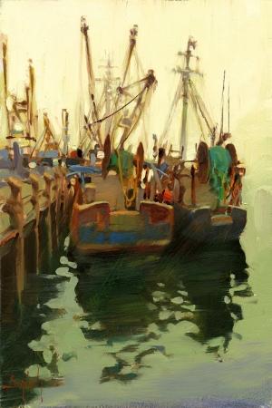 Balıkçı Tekneleri, Liman Modern Sanat Kanvas Tablo