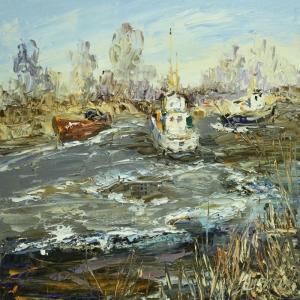 Balıkçı Tekneleri Yağlı Boya Sanat Kanvas Tablo