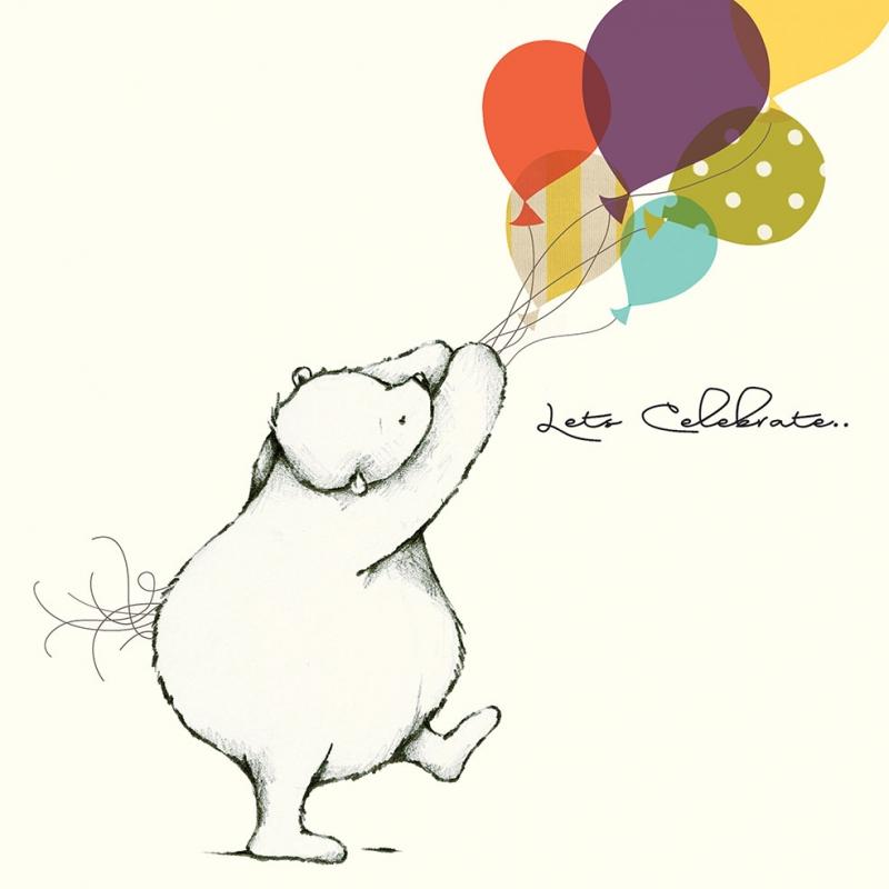 Balonlar ve Ayı illustrasyon Çizim Popüler Kültür Kanvas Tablo