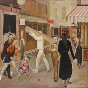 Balthus Sokak Ve İnsanlar Yağlı Boya Klasik Sanat Canvas Tablo
