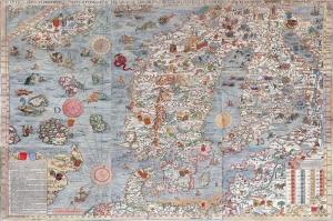 Baltik Denizi ve Iskandinavya Sehri Eski Cizim Harita Cografya Kanvas Tablo