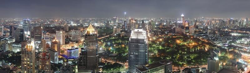 Bangkok Gece Manzarası Panaromik Kanvas Tablo