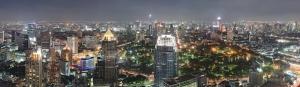 Bangkok Gece Panaromik Dünyaca Ünlü Şehirler Kanvas Tablo