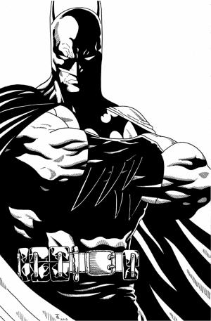 Batman Siyah Beyaz Süper Kahramanlar Kanvas Tablo