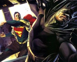 Batman ve Süperman Kavga Süper Kahramanlar Kanvas Tablo