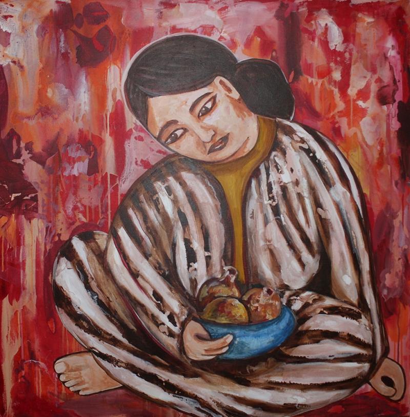 Bayan Portre 15, Suhair Sibai Yağlı Boya Sanat Kanvas Tablo