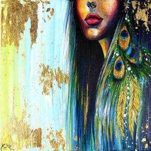 Bayan Tavus Kuşu Soyut Abstract Sanat Kanvas Tablo