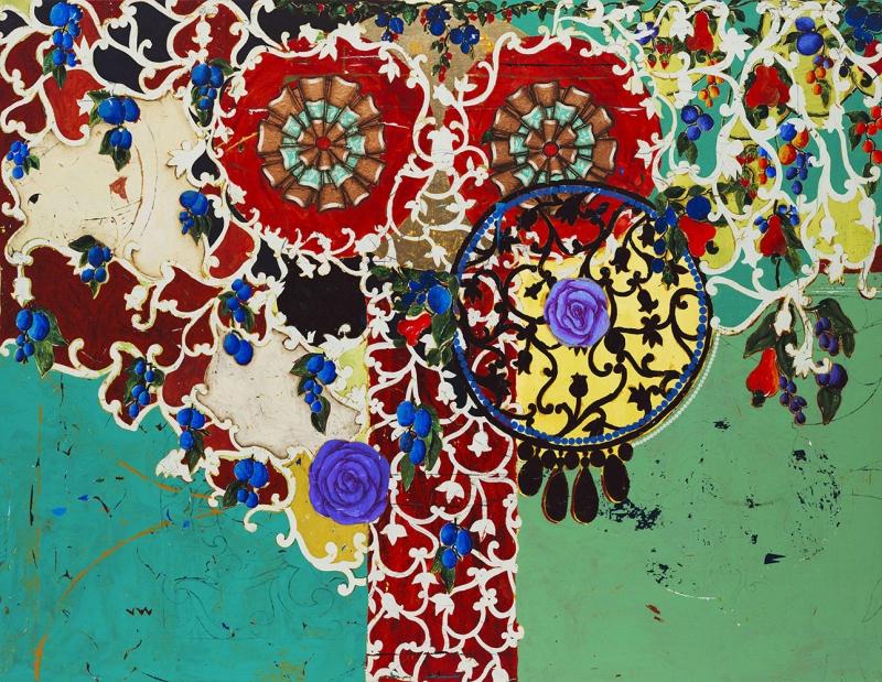 Beatriz Milhazes Yumurta Bitkiler Yaglı Boya Klasik Sanat Canvas Tablo