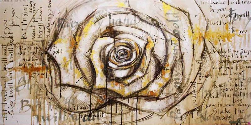 Bekleyeceğim Gül Soyut Abstract Sanat Kanvas Tablo