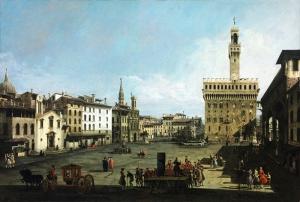 Bernando Bellotto The Piazza Della Signoria İn Florence Floranca Yağlı Boya Sanat Kanvas Tablo