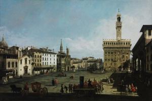 Bernardo Bellotto The Piazza Della Signoria Floransa Klasik Sanat Kanvas Tablo