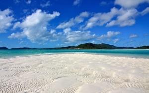Beyaz Cennet Adası Sahili Whitsunday Doğa Manzaraları Kanvas Tablo