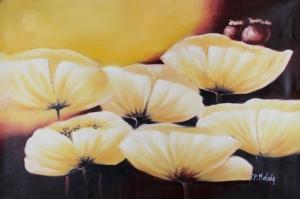 Beyaz Çiçekler 1 Kır Çiçekleri Yağlı Boya Sanat Kanvas Tablo