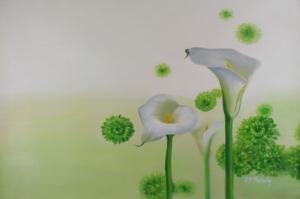 Beyaz Çiçekler 13 Yağlı Boya Sanat Kanvas Tablo