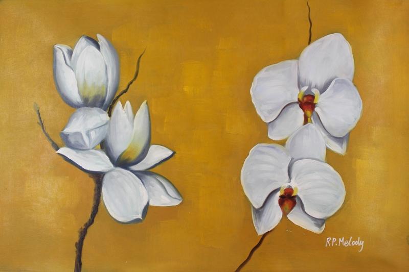 Beyaz Çiçekler 2 Orkideler Yağlı Boya Sanat Kanvas Tablo