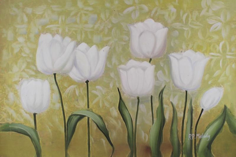 Beyaz Çiçekler 2 Yağlı Boya Sanat Kanvas Tablo