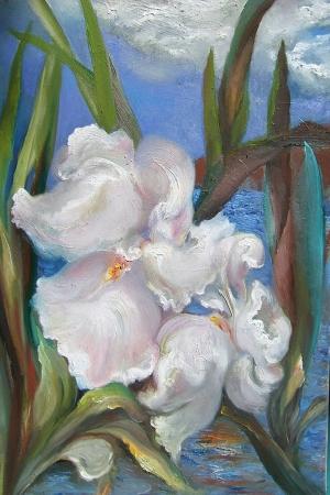 Beyaz Çiçekler 3 Yağlı Boya Sanat Kanvas Tablo