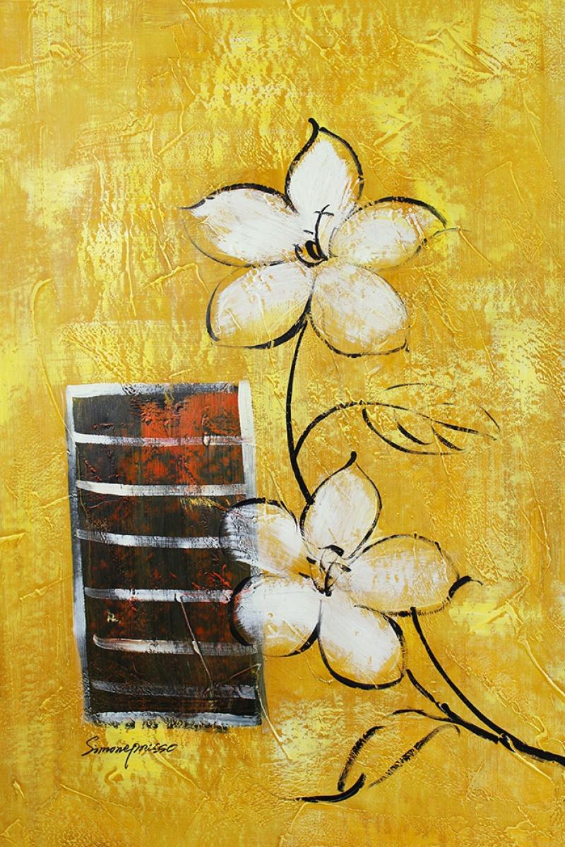 Beyaz Çiçekler 5 Yağlı Boya Sanat Kanvas Tablo