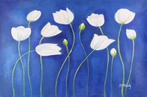 Beyaz Çiçekler 7 Yağlı Boya Sanat Kanvas Tablo