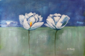 Beyaz Çiçekler 8 Yağlı Boya Sanat Kanvas Tablo